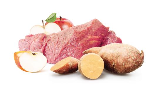 Barf Menü vom Pferd mit Apfel, Möhre & Süßkartoffel - 500g